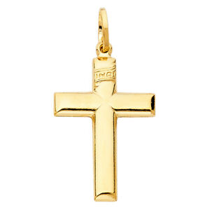 Free-Chain-Real-14k-Yellow-Gold-Plain-INRI-Cross-Crucifix-Jesus-Pendant-Charm