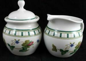Lenox-China-SUMMER-TERRACE-Creamer-and-Sugar-Bowl-with-Lid-GREAT-CONDITION