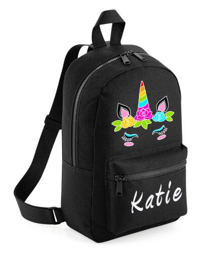 Personalisiert Kinder Rucksack Jede Name Einhorn Mädchen Schulanfang Tasche