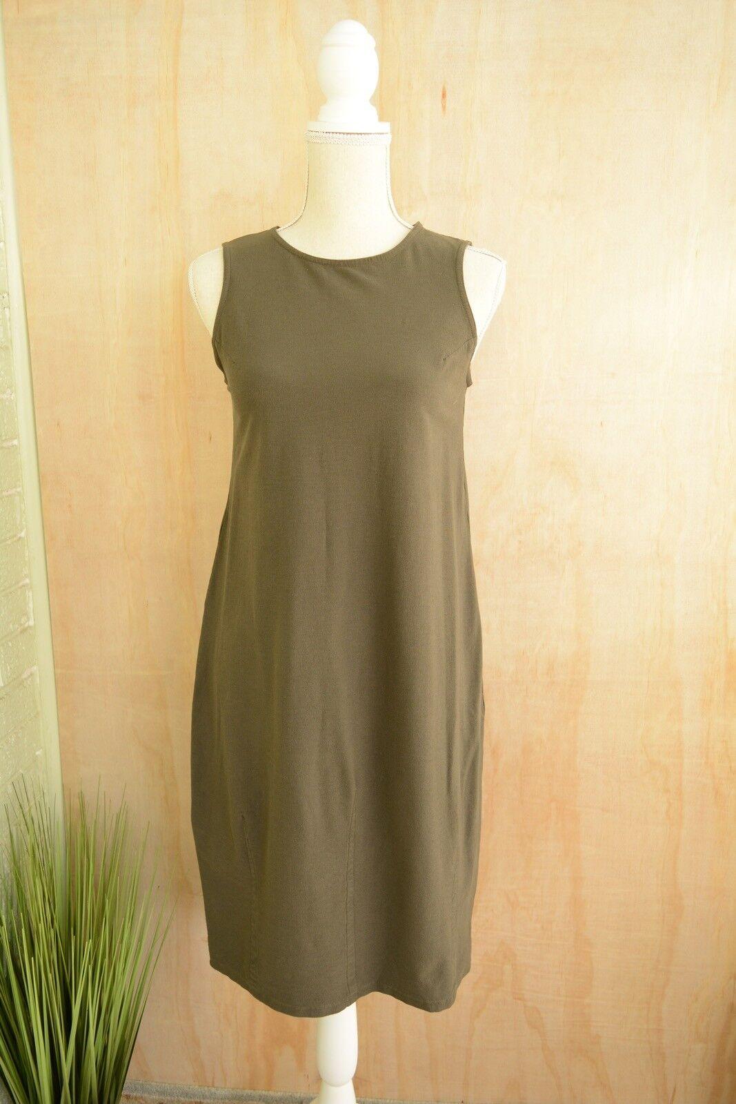 Eileen Fisher - Dark khaki green sleeveless stretch tank dress, size P Petite