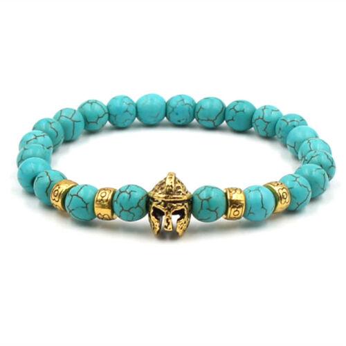 Hommes Femmes Charme Noir Spartiate Casque de perles pierre naturelle bracelets bijoux