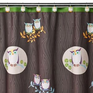 Allure Awesome Owls Fabric Shower Woodsy Curtain Bath Home Bird Decor 5e Bb4