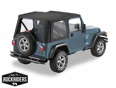 1997-2006 Jeep Wrangler Soft Top Upper Door Windows Driver /& Passenger Black