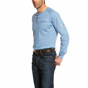 Ariat-10022600-Men-039-s-Steel-Blue-FR-Air-Henley-Long-Sleeves-Jersey-Cotton-T-Shirt