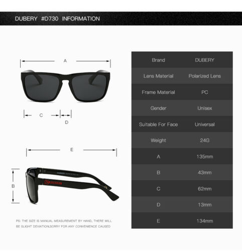 DUBERY Mens Womens Vintage Polarized Sunglasses Driving Shades Square Outdoor
