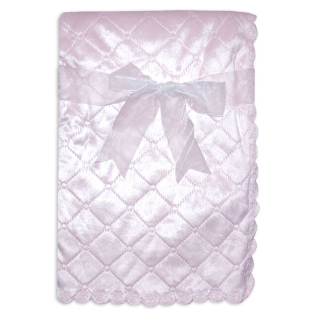 Baby Girls Pink Boutique Blanket with Satin Effect Light Weight Quilted Design