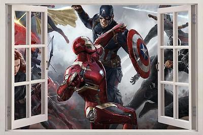 Captain America Civil War Iron Man 3D Window Decal Wall Sticker Art Mural H476