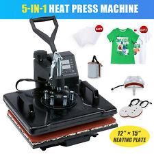 Digital 5in1 Transfer Heat Press Machine 15x12 Sublimation T Shirt Mug Hat