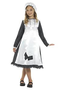 Kids Girls Fancy Dress Victorian Maid Costume Dickens Poor Girl Peasant