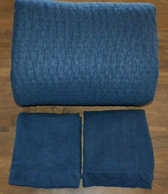 Pottery Barn Pick Stitch Handcrafted Quilt Midnight Blue