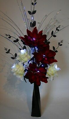 Artificial Silk Flower Arrangement Red Cream Flowers With Lights In Black Vase Ebay