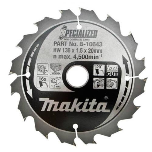 Makita Specialised B-10643 136 X 20 mm 16 T Sans fil LAME DE SCIE BOIS FAST CUT