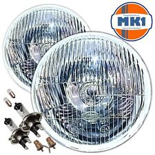 "CLASSIC AUSTIN ROVER MINI / BMC 7"" HALOGEN HEADLIGHTS WITH SIDELIGHT & BULBS"