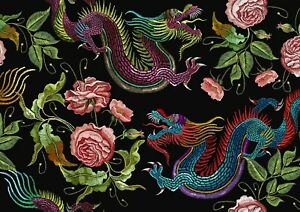 A3-Chinese-Dragon-Flowers-Poster-Print-Size-A3-Floral-Art-Poster-Gift-14443