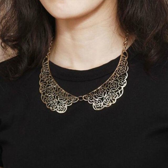 Hollow Out Design Fashion Vintage Metal Carved Rose False Collar Necklace o