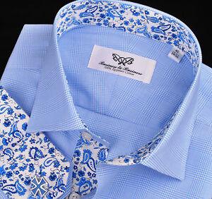 Boss-Design-Blue-Paisley-7-Striped-Checkered-Mens-Formal-Dress-Business-Shirt
