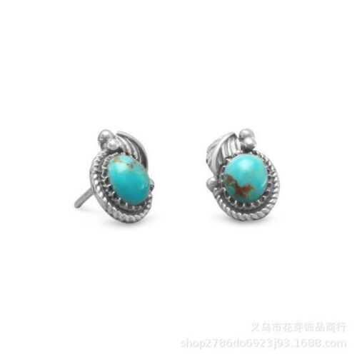 Vintage Women 925 Silver snails Turquoise Natural Stone Ear Stud Earring Jewelr