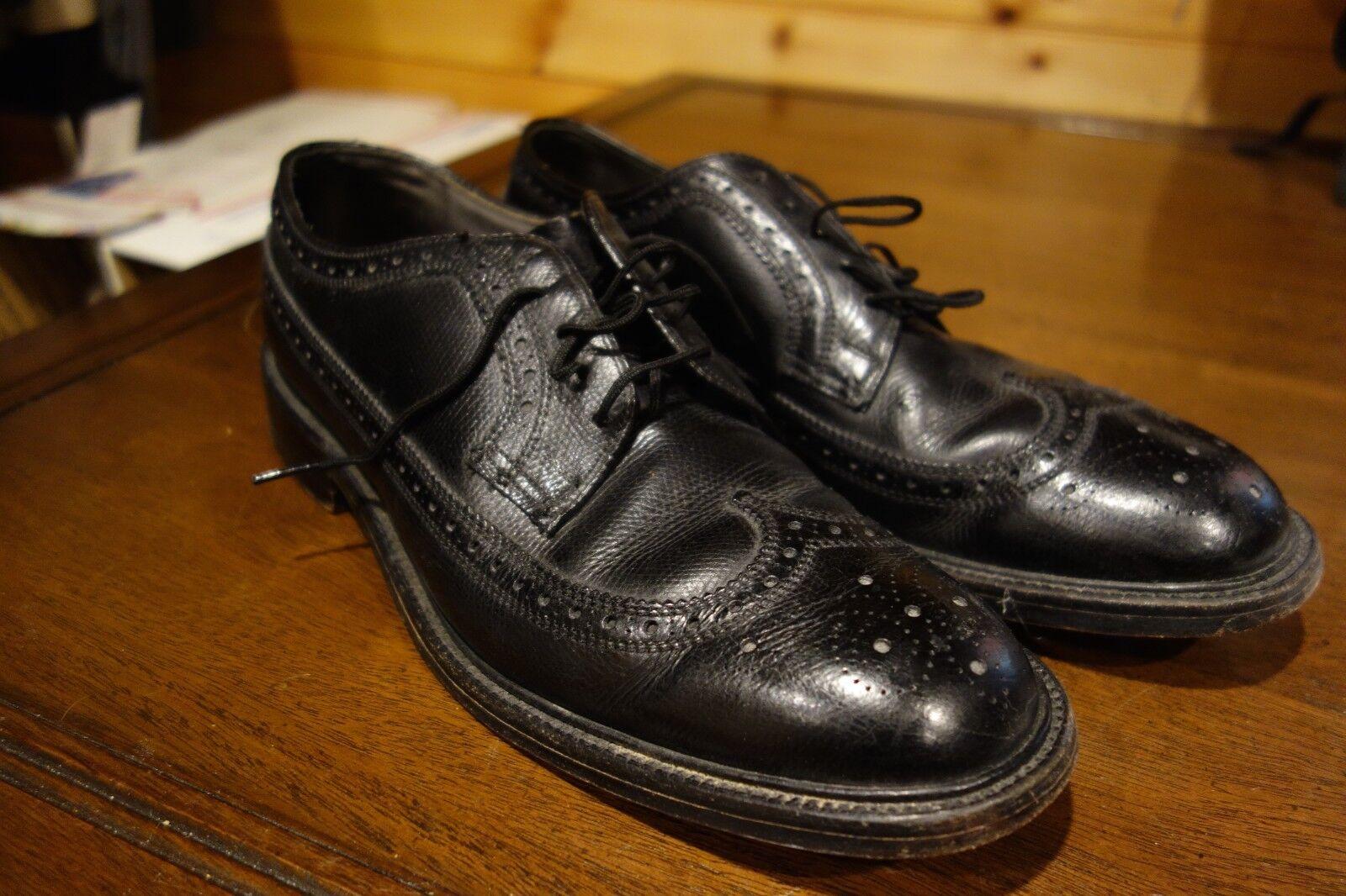 Bostonian Vintage V Cleat Noir Pebble Grain long Bout D'Aile Chaussures 10 C A USA