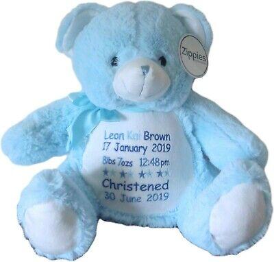 Christening Teddy Bear Cushion Gift Birth details Personalised Boys New Baby