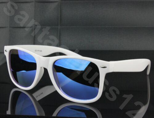 Occhiali da Sole Classici Bianco Quadrato Telaio Lenti Specchiate Donna Uomo