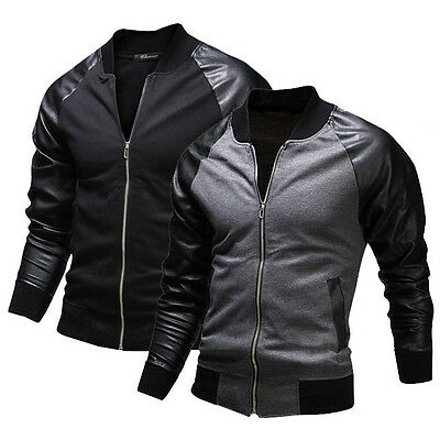 New Style Men Fit Coat PU leather BLACK GREY Motorcycle Leather Jacket Overcoat