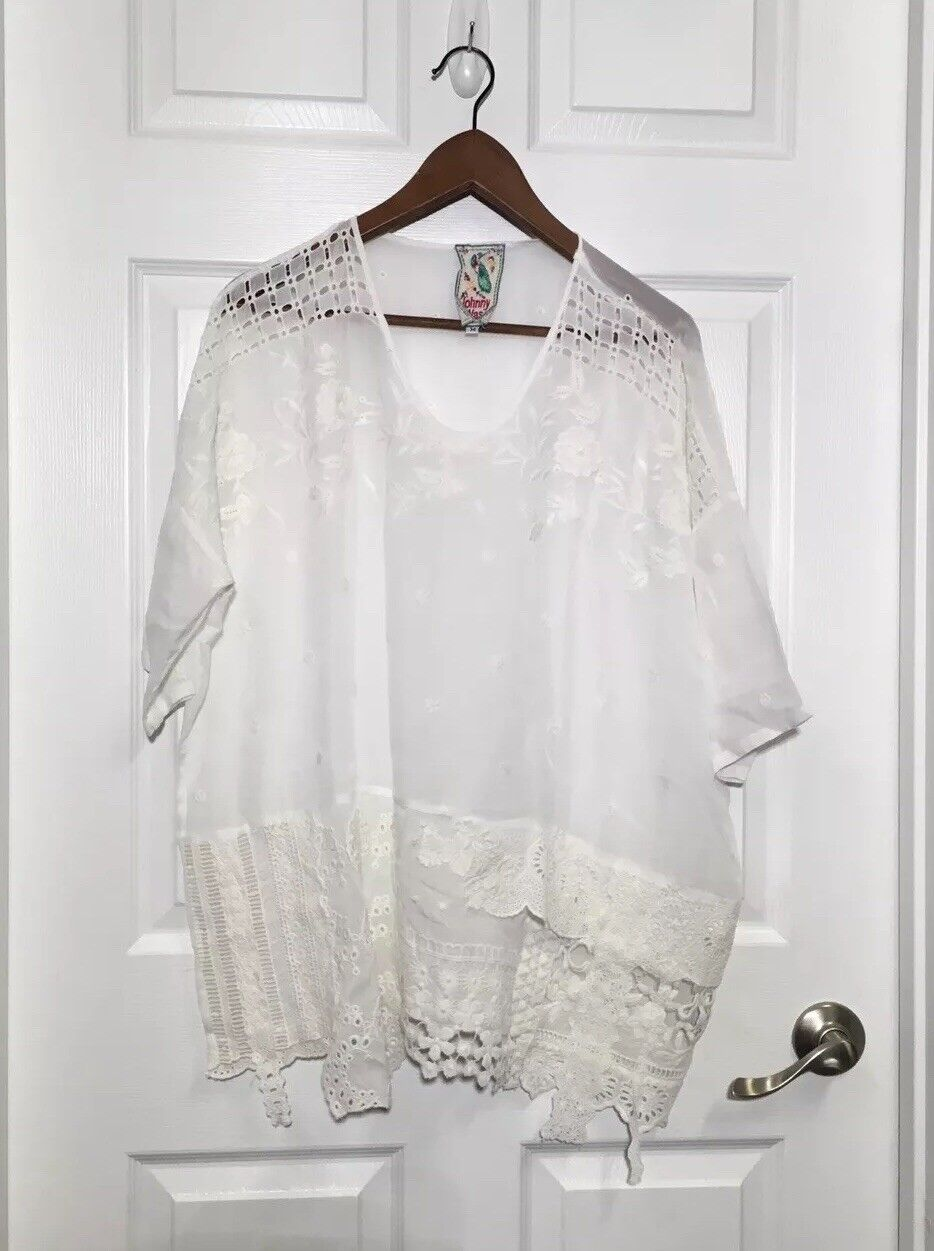 Johnny Was Weiß Embroiderot Tunic Größe Medium