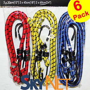 6 NEW BUNGEE STRAPS CORDS SET HOOKS ELASTICATED ROPE CORD CAR BIKE LUGGAGE TIE