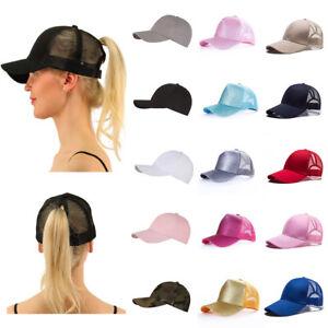 893b270a2 Women Women Girl Sequins Shiny Baseball Cap Ponytail Messy Bun Snapback  Adjustable Hat Mesh Hip-Hop Cotton Sun Caps