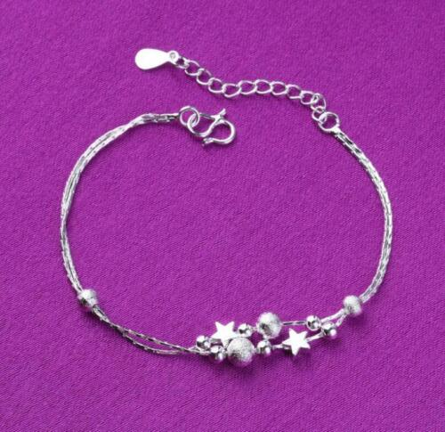 925 Sterling Silver SP Stars Beads Foot Ankle Bracelet Double Chain Anklet A19