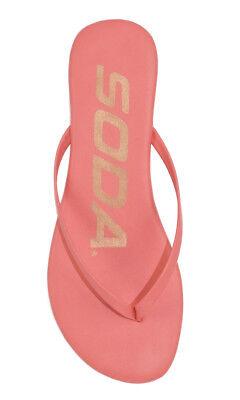 Soda Women Flip Flop Basic Plain Sandals Strap Casual Beach Coral Pink SEASHELL