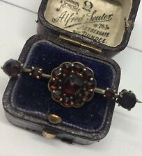 Victorian Antique Large Yellow Metal Garnet Cluster Bar Brooch