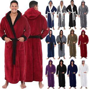 Luxury-Long-Bath-Robe-Dressing-Gown-Hooded-Mens-Womens-Fluffy-Fleece-Bathrobe