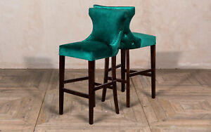 pretty nice e2360 463f8 Details about PAIR OF EMERALD GREEN VELVET SEAT BAR STOOLS FRENCH STYLE  BREAKFAST BAR STOOLS