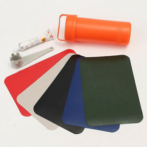 Inflatable Boat Kayak Repair Kit PVC 5x Patch Glue Valve Wrench Container Bucket
