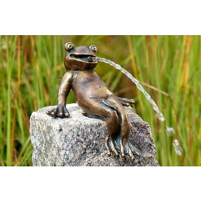 Bronzefigur Froschkönig Heinrich Bronze Wasserspiel für Garten Teich Bachlauf