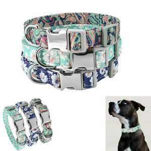 Adjustable-Personalized-Dog-Collar-Floral-Custom-Small-Medium-Large-Dogs-Puppy