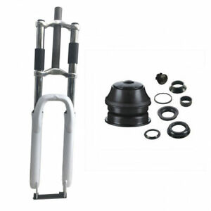 """CDH Bicycle White fork 26"""" Combo-triple tree suspension fork and a Black headset"""