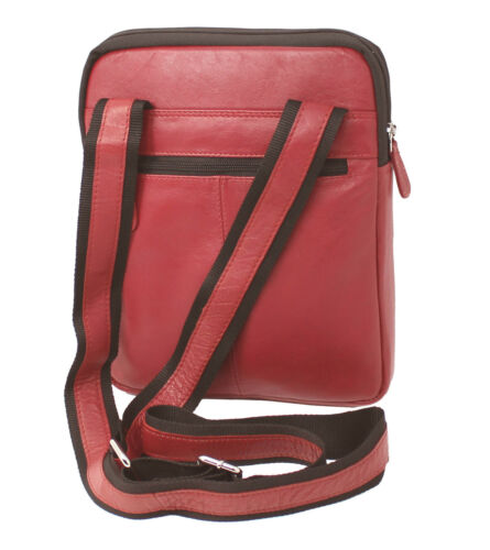 Starhide Mens Womens Real Leather Cross Body Travel Messenger Ipad bag 505 Red