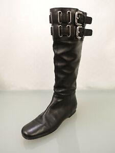 MIU MIU PRADA Leder Stiefel Gr.39,5 Boots Metallösen Reißverschluss Schwarz