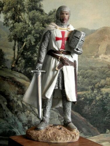 Hand Painted Medieval Crusader  Knight of Malta Templar Figure 15,5 cm Realistic