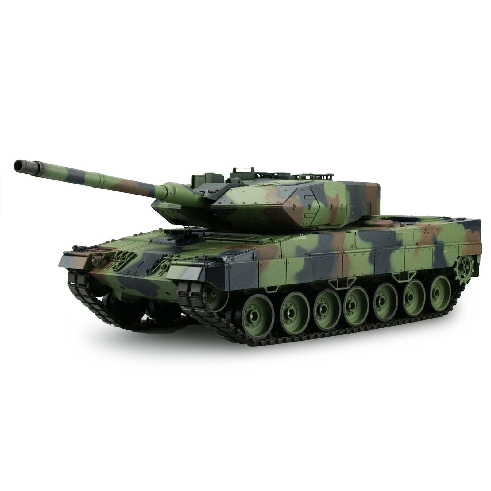Heng Long 1:16 RC carro armato Leopard 2 a6 2,4 GHz metallo ingranaggi fumo Sound colpo