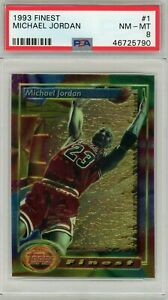 Michael Jordan Chicago Bulls 1993 Topps Finest Basketball Card #1 Graded PSA 8