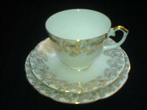 L-amp-R-London-ENGLISH-BONE-CHINA-White-Gold-Cup-Saucer-Plate-Trio-Set