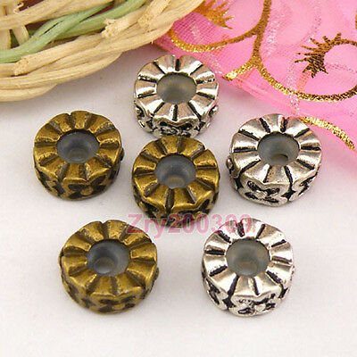 6Pc Tibetan Silver,Bronze Stoppers Rubber Spacer Beads Fit Charm Bracelet M1374