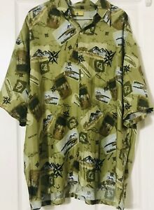 Paradise Gold Vintage Button Hawaii Cabana Cruise Navigation vactation Shirt