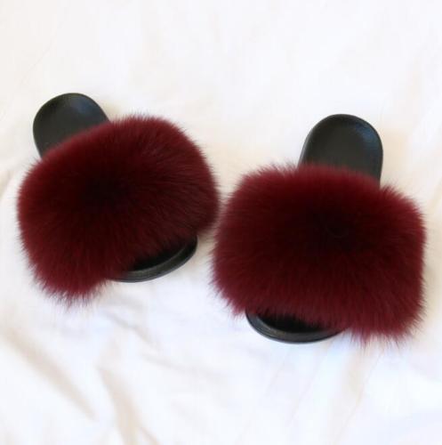 New Flat Women Fox Raccoon Fur Sliders Slippers Indoor Outdoor Shoes