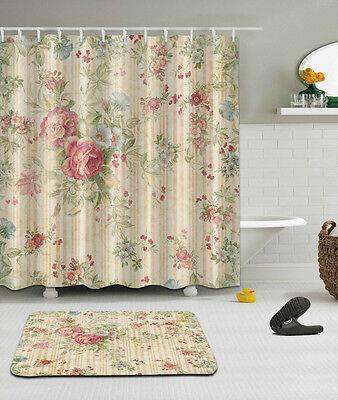 The Train Theme Waterproof Fabric Home Decor Shower Curtain Bathroom Mat