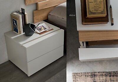 2 Comodini Moderni Af-scudo 57 Cm Bianco Opaco Inserto Rovere Camera Qualità +++ Colore Veloce