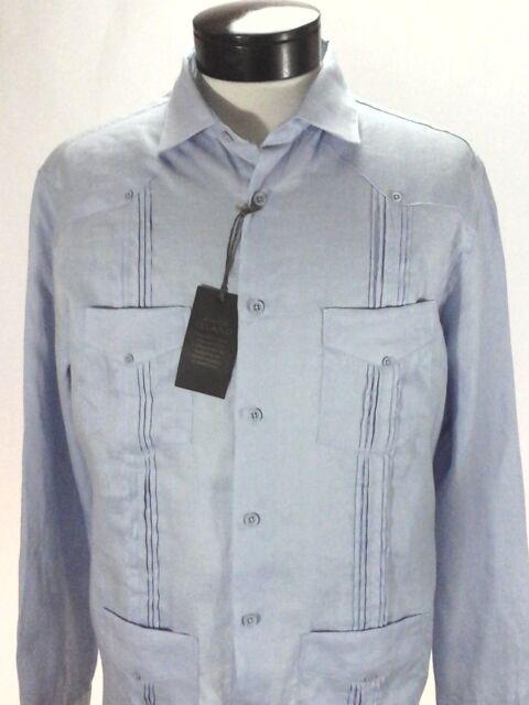 a03a92df662 Guayabera TASSO ELBA Sky Blue Cuban Shirt 4 Pockets 100% Linen Mens M  79.50