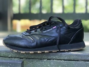reebok classic wmns s9 black leather athletic shoe